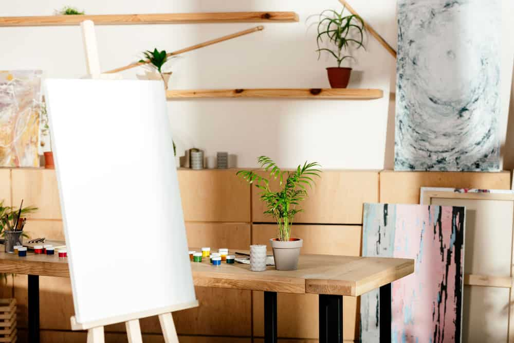 artists studio with easel and canvas
