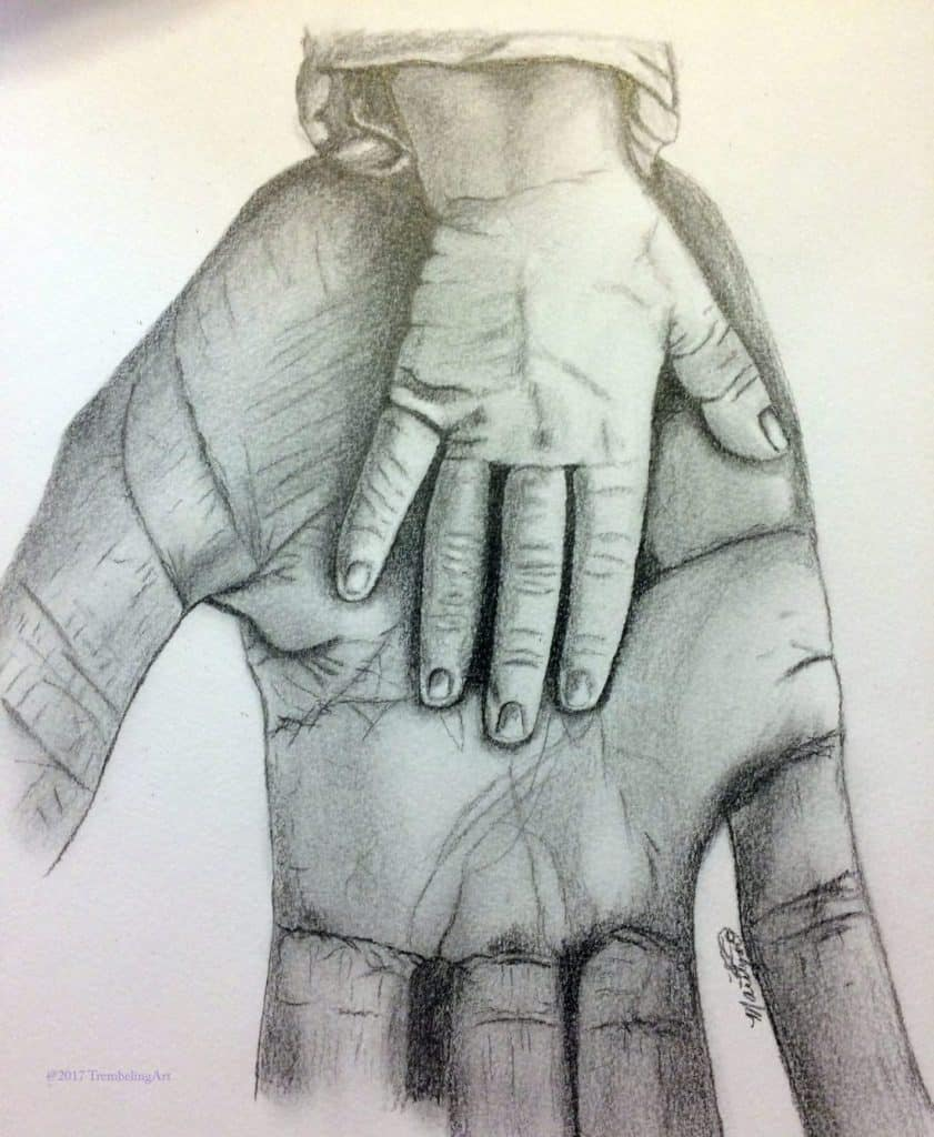 graphite drawing of a childs hand resting on an adult hand