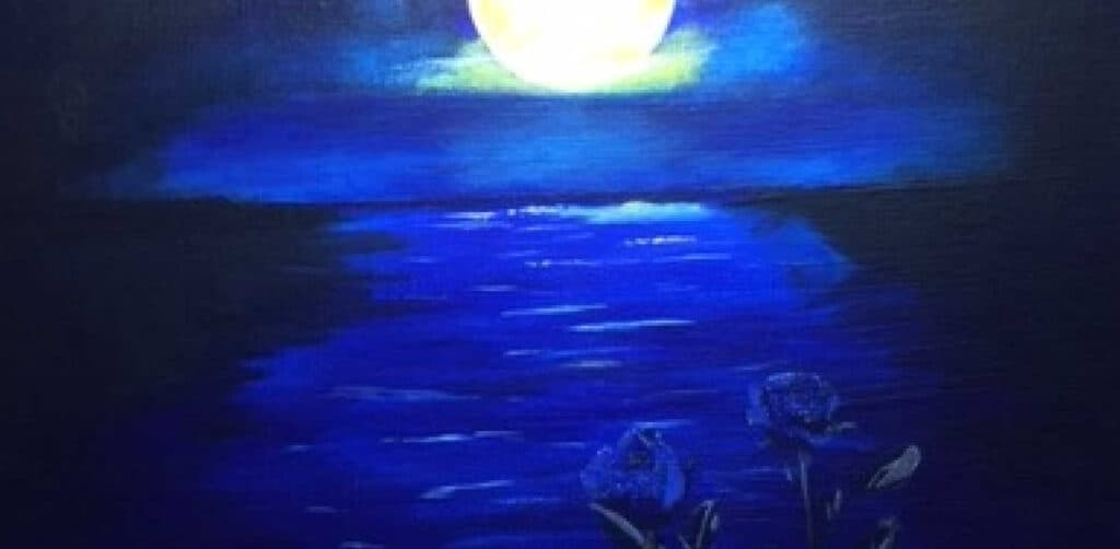 acrylic painting of blue roses in the moonlight