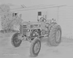 Graphite drawing of a vintage tractor