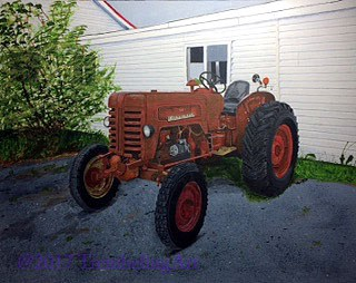 old tractor acrylic painting