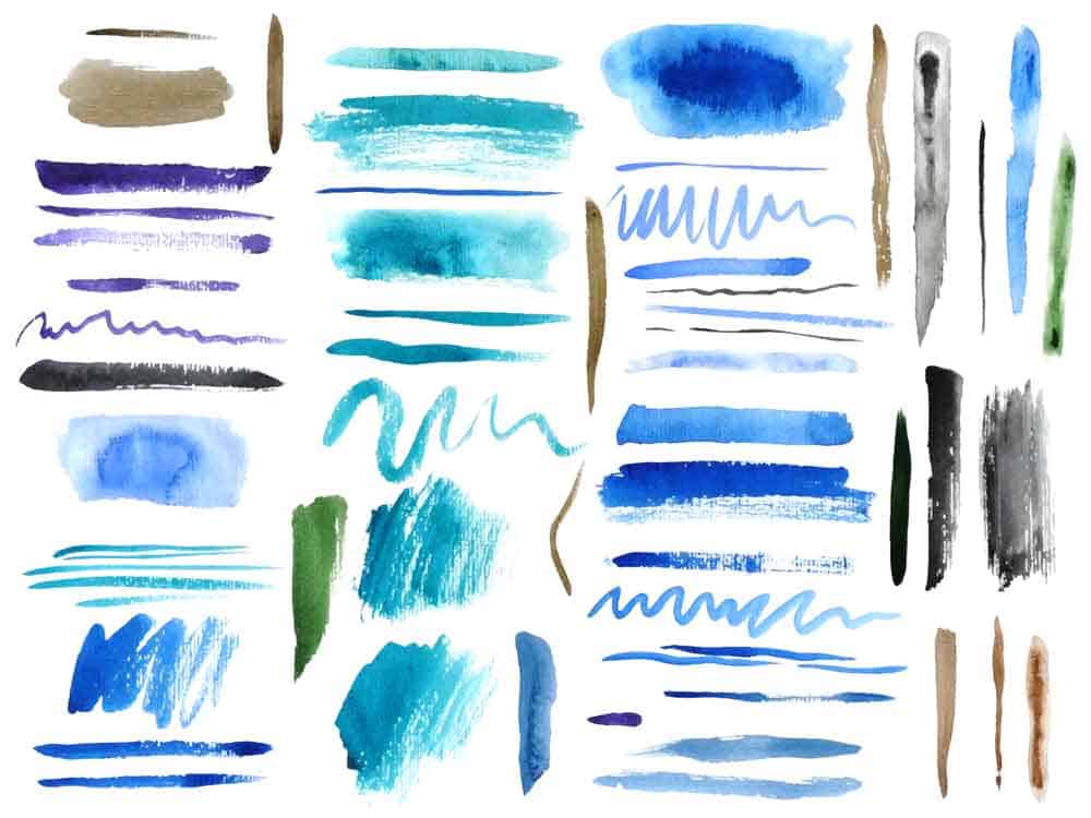 various artist brush strokes in blues and greens