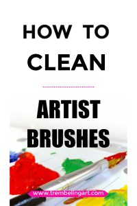 picture of a paint brush and paint with text overlay how to clean artist brushes