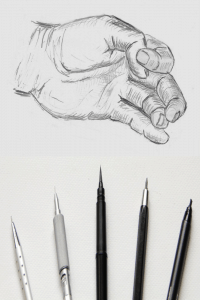 drawing of a hand with pencils below