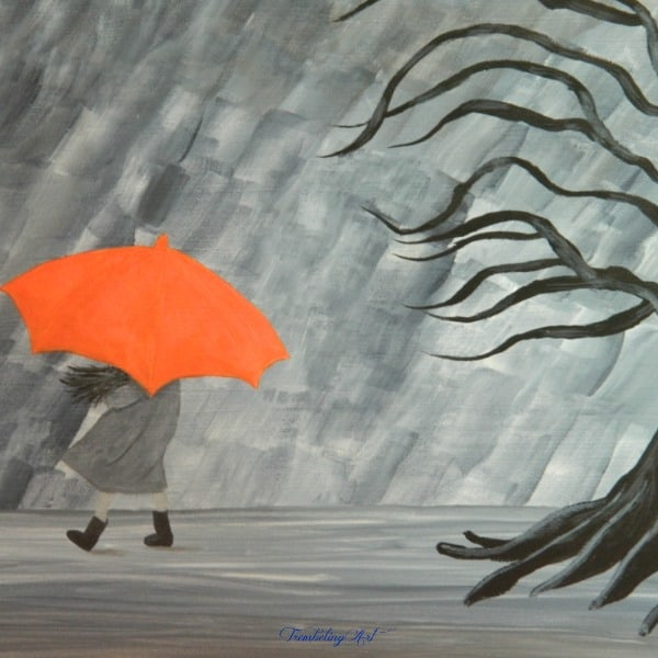 painting of a girl carrying an umbrella in the rain with a dark tree behind her