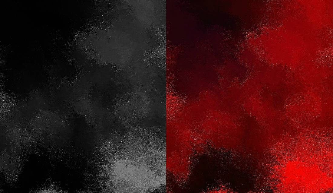 side by side comparison of a black and white smudge of paint and a deeply red smudge of paint