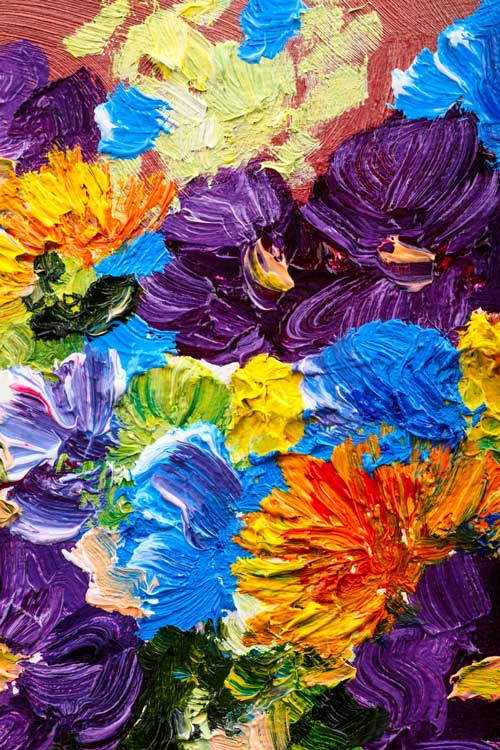 painting of multicolored textured flowers