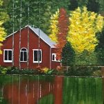 acrylic painting of a cabin in an autumn forest