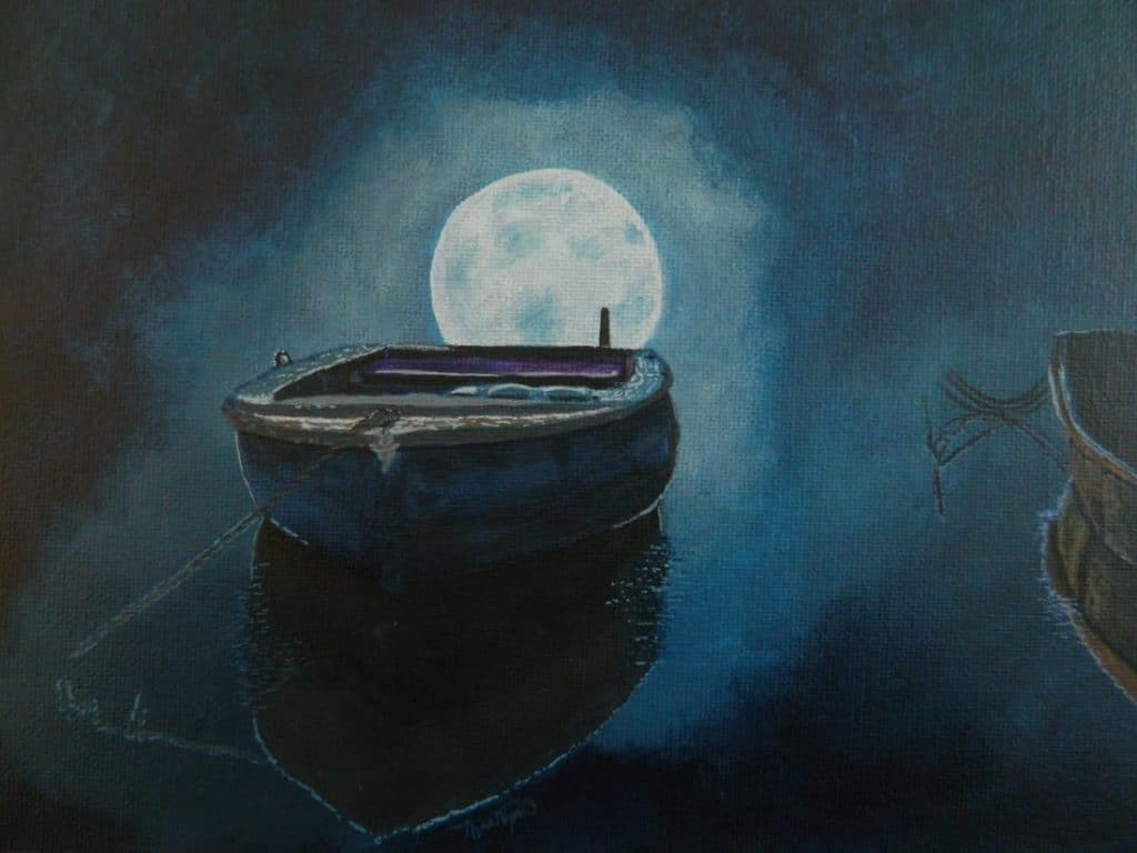acrylic painting of the moon behind a boat