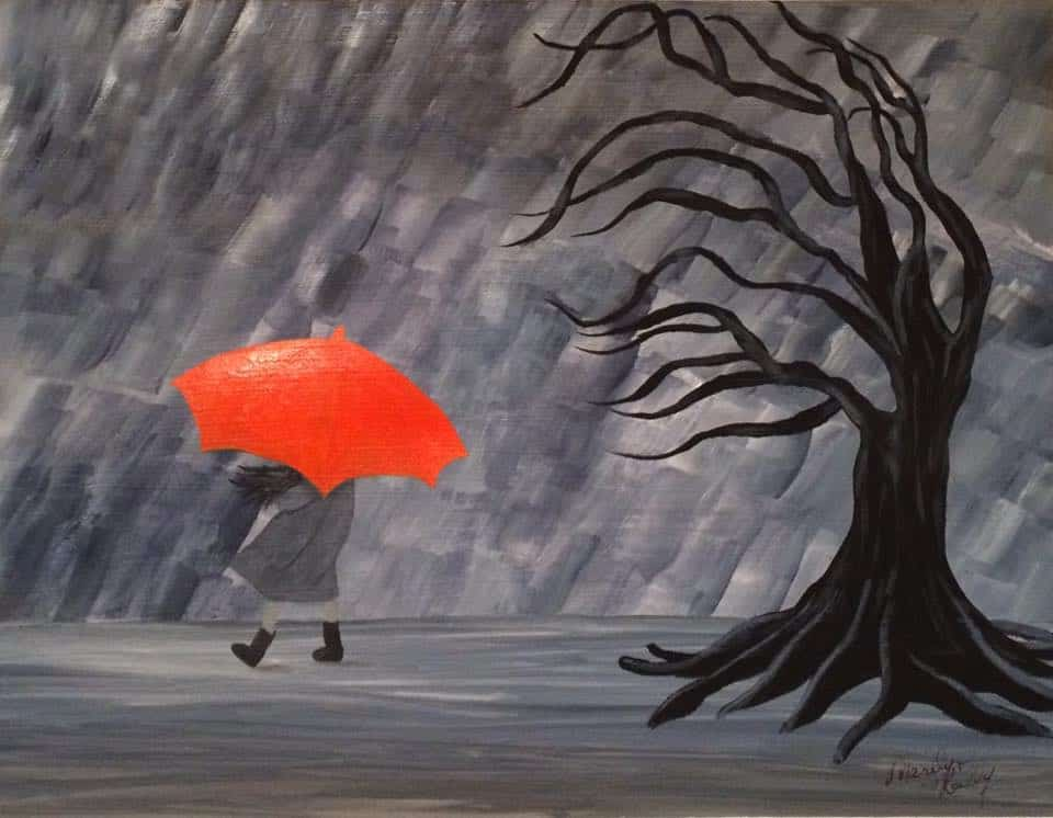 painting of a girl in grey rain with orange umbrella