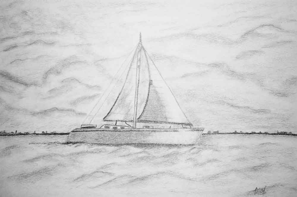 graphite sketch of a sailboat