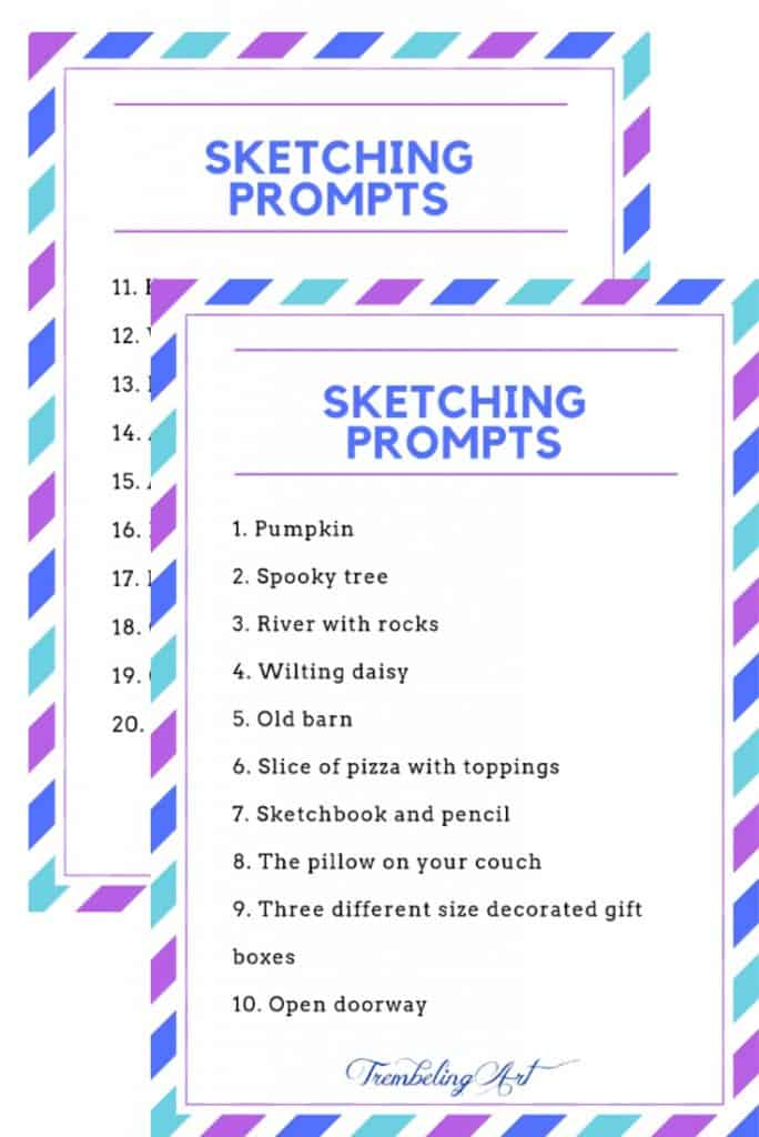 list of sketching prompts