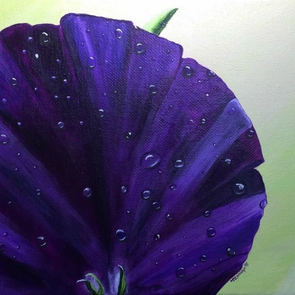 Acrylic painting of purple pansy on green background