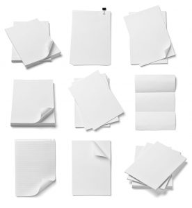 various sheets of white drawing paper