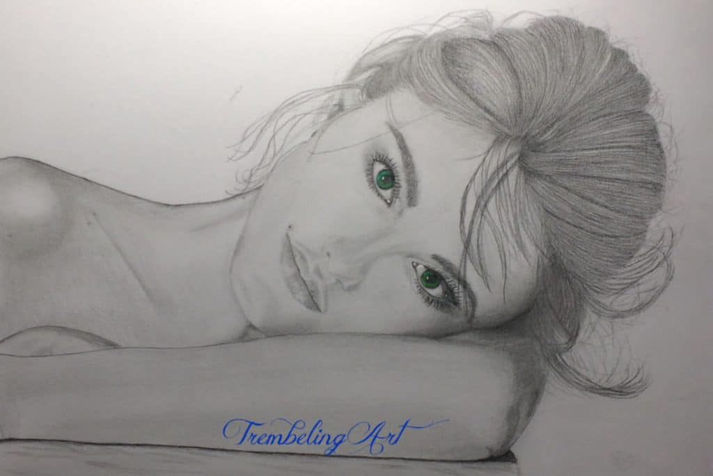 pencil drawing of a girl with green eyes