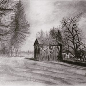 graphite drawing of old house