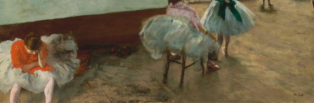 Painting by Edgar Degas of girls in ballet outfits with artists signature in left corner.