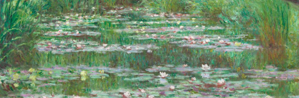 Painting by Claude Monet of a Japanese bridge over a river of waterlilies with artists signature in lower left corner
