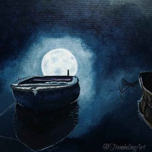 acrylic painting of a boat in moonlight by TrembelingArt