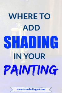 pinterest pin painting of guitar and stool with text overlay where to add shading in your painting