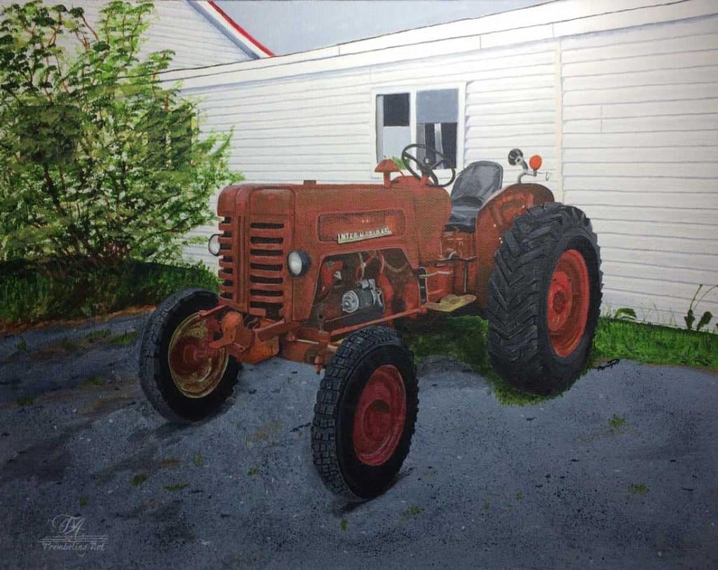 acrylic painting of a vintage tractor by TrembelingArt