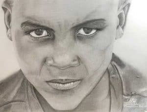 Angry Boy Graphite on Bristol Paper by MarilynO @TrembelingArt