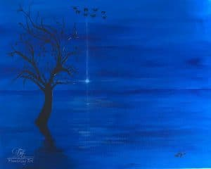 acrylic painting of lake at night with a dark tree and birds