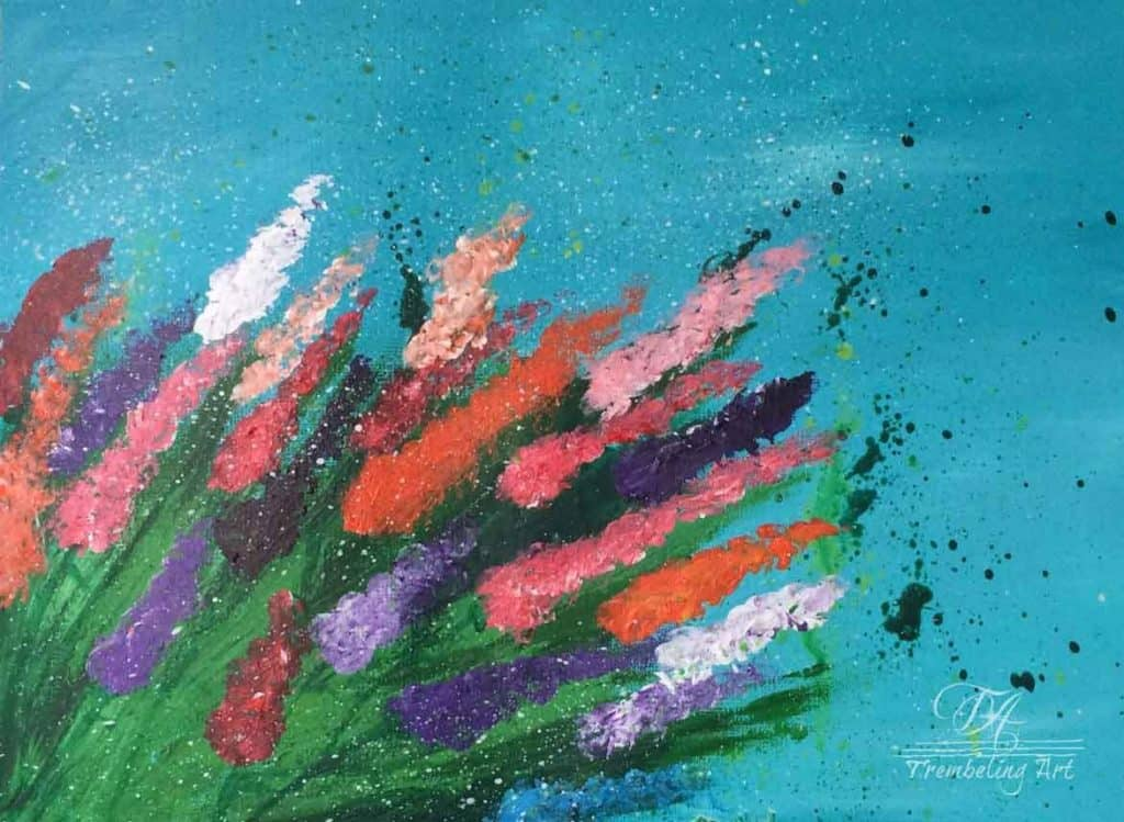 acrylic painting of multicolored flowers on a blue background