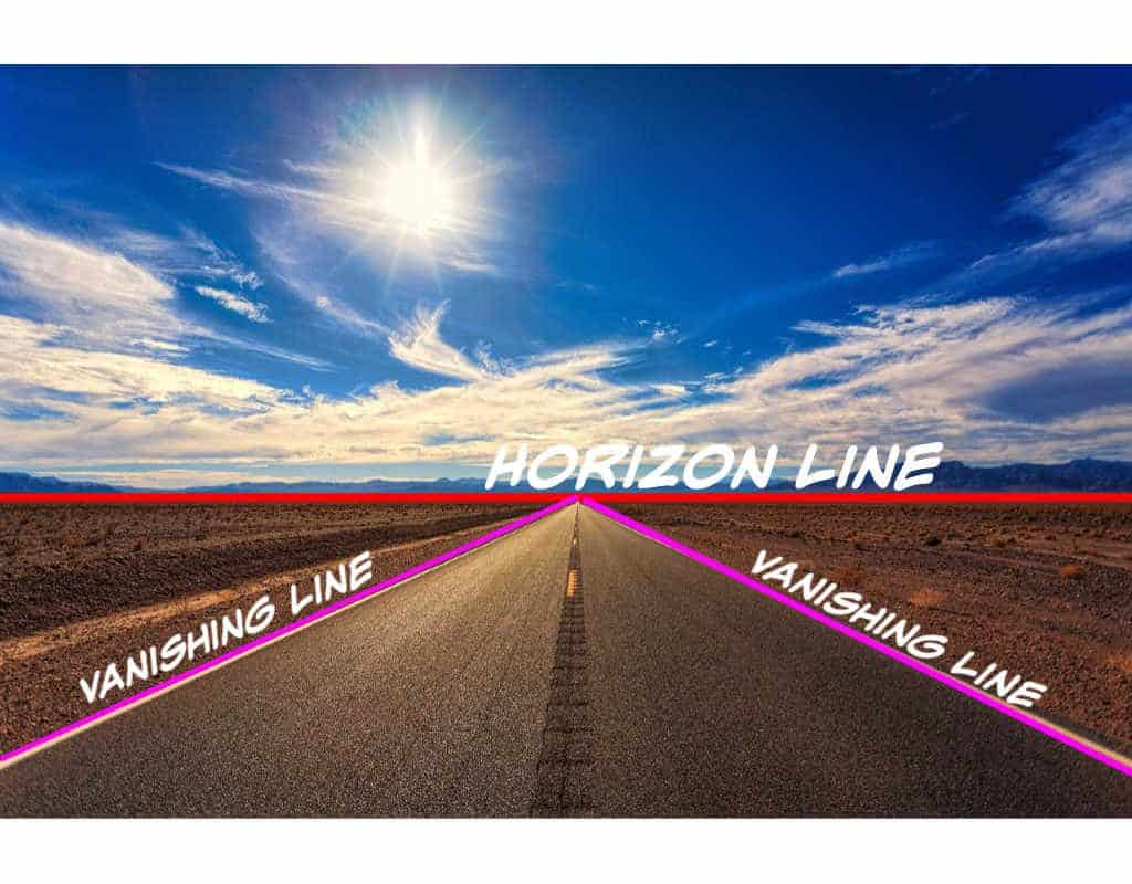 picture of a straight road with a red line showing the horizon line and purple lines showing the vanishing lines