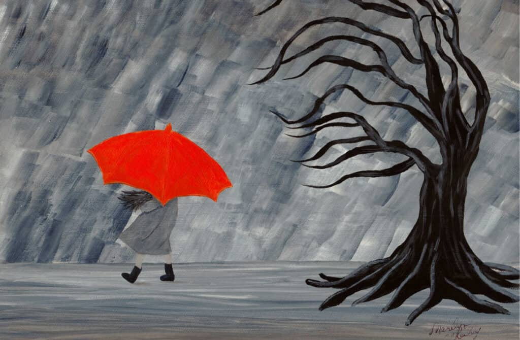 acrylic painting of a girl in the rain with an orange umbrella an a dark leafless tree