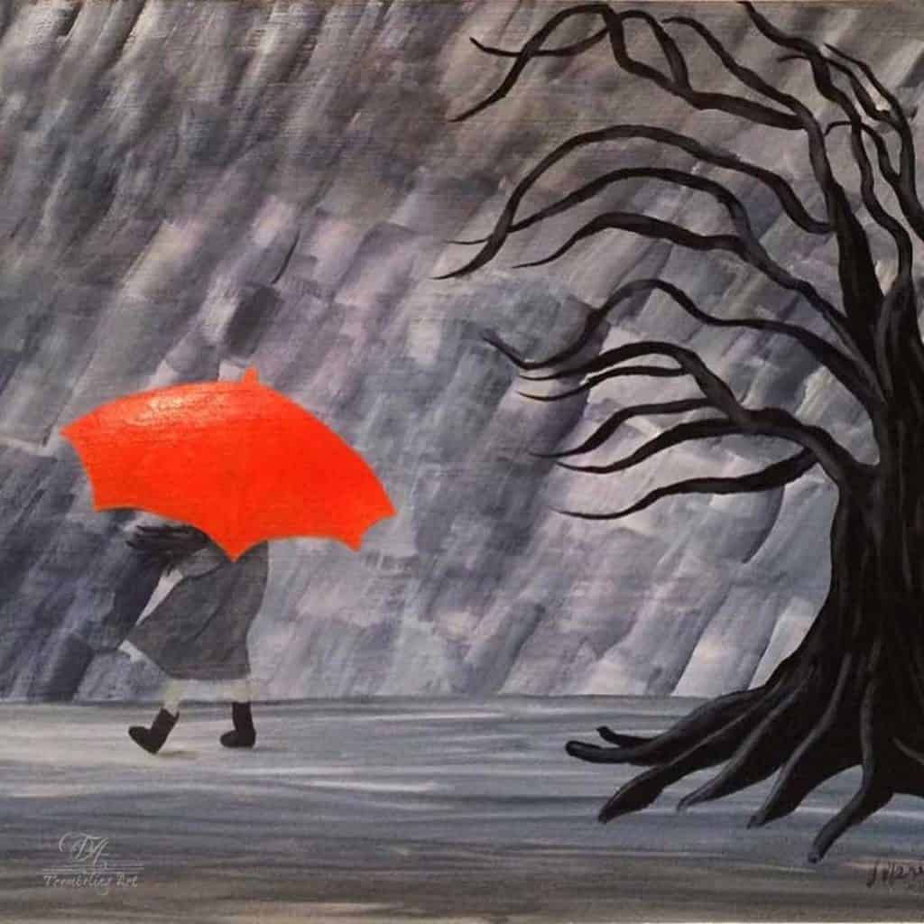 acrylic painting of a girl with an orange umbrella walking in the rain