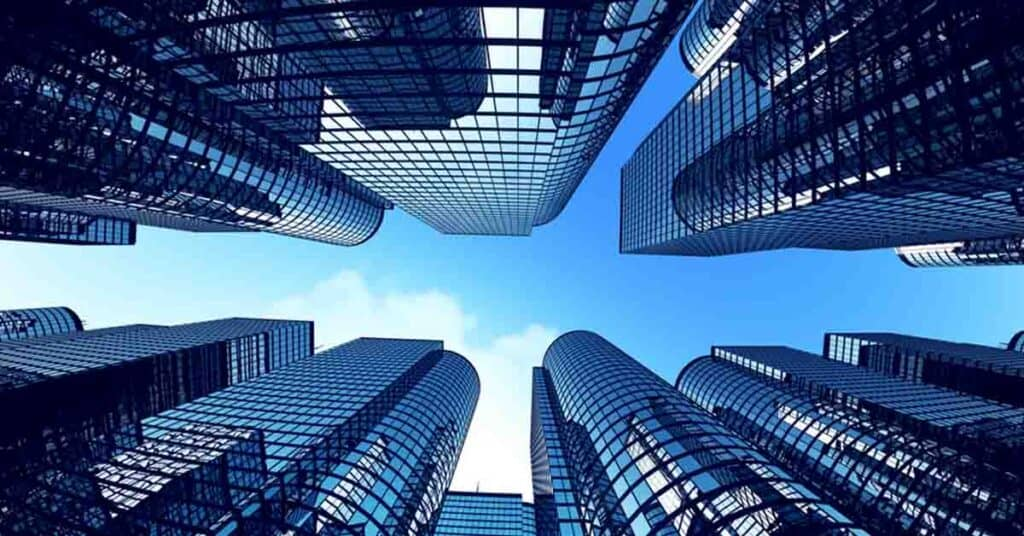 graphic drawing of looking up from the centre of tall buildings illustrating perspective