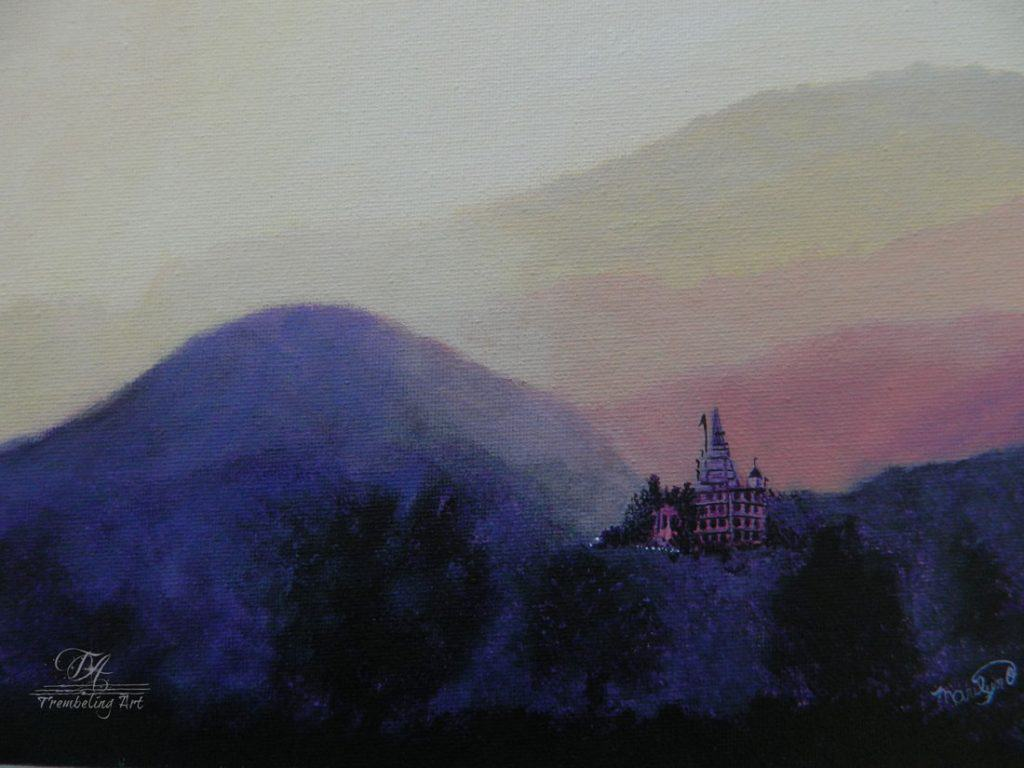 Acrylic painting of misty mountains and an oriental house in the distance.