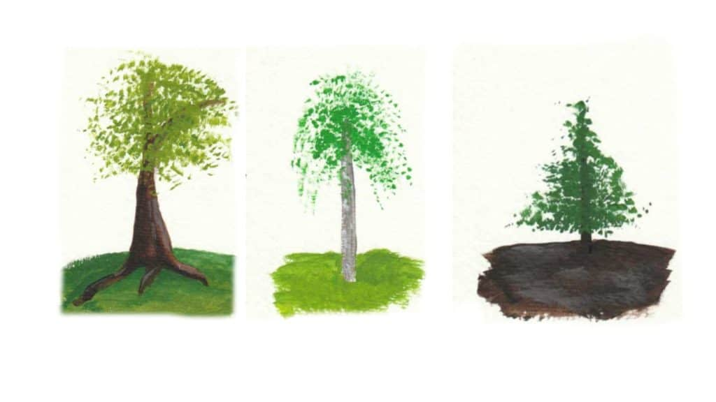 Acrylic painting of three different types of trees