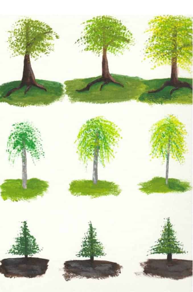 painting of six different green trees on a white background