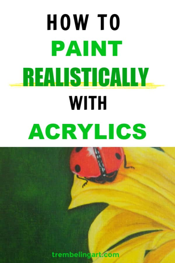 Pinterest pin with photorealistic painting of a flower and ladybug