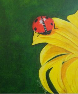 photorealistic painting of a yellow flower and ladybug