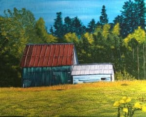 acrylic painting of a barn in autumn