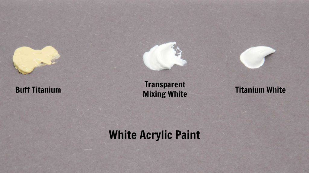 Swatches of white acrylic paint