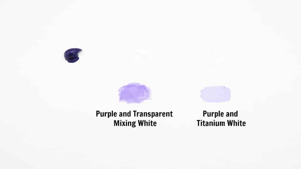 purple acrylic paint mixed with transparent white and titanium white paint