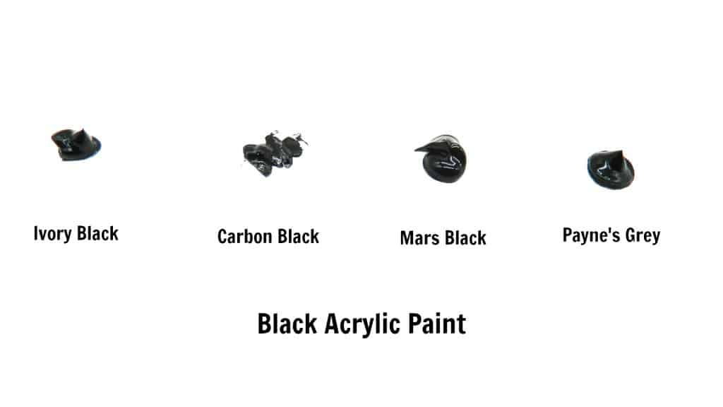 swatches of black acrylic paint