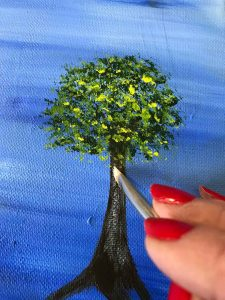 Acrylic painting of a tree with dry brush technique