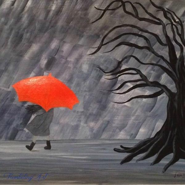 painting of girl with orange umbrella