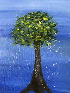 acrylic painting of a tree using various painting techniques