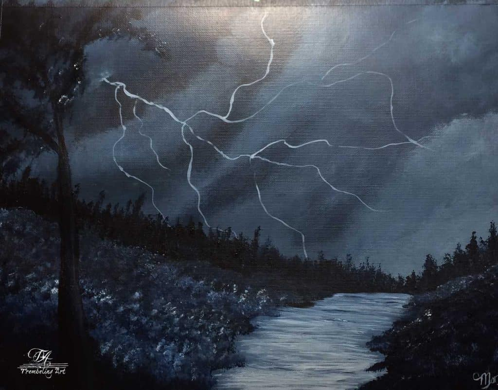 Black and white acrylic painting of an electrical storm at night