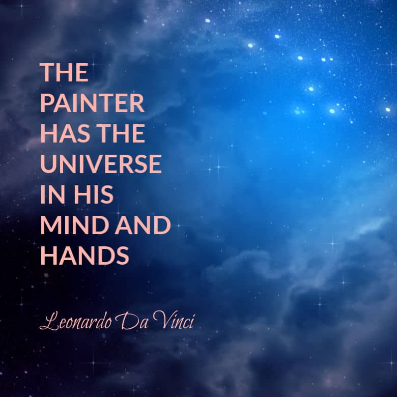 picture of the universe with text overlay art quote by Da Vinci