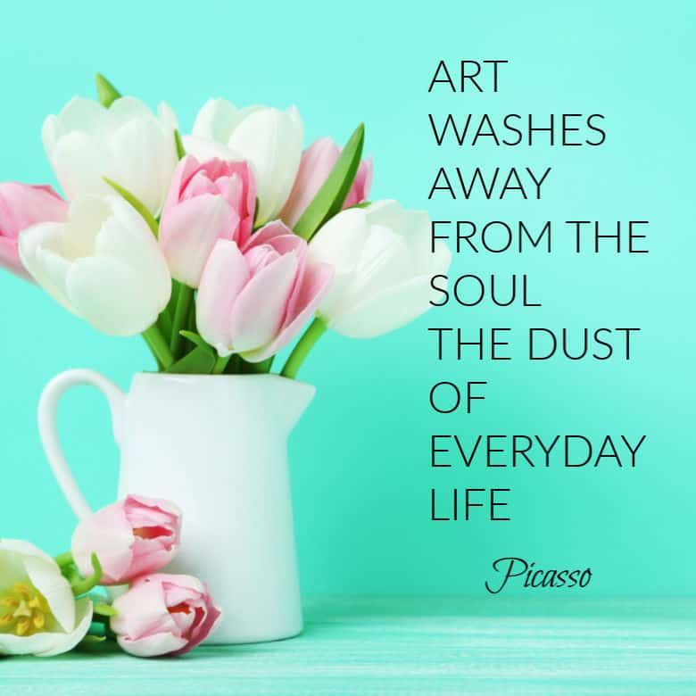 Jug with tulips and a painting quote