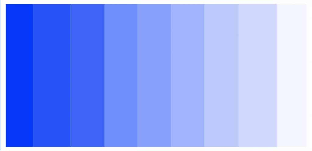 various tints of blue