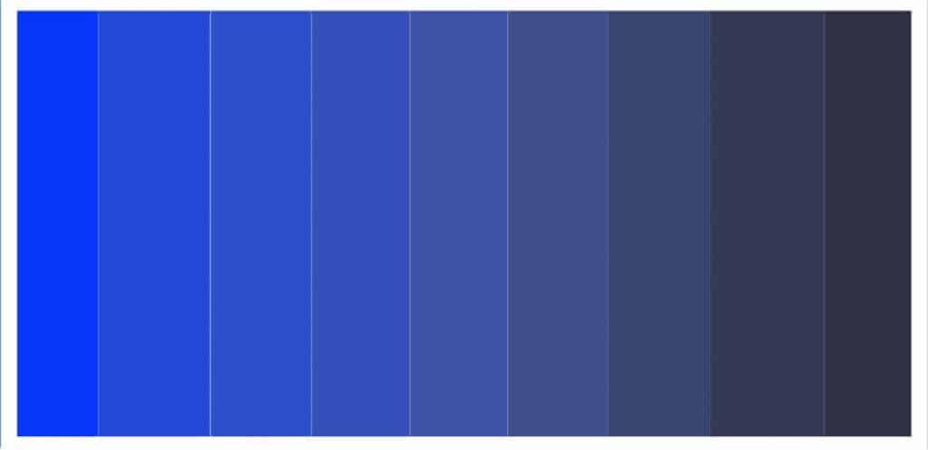 various tones of blue