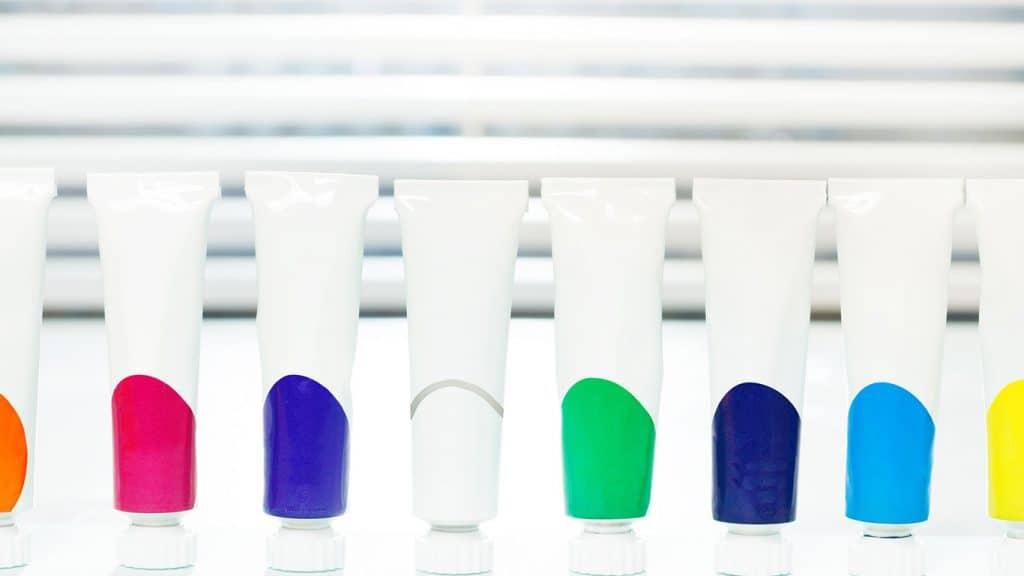 blank acrylic paint tubes